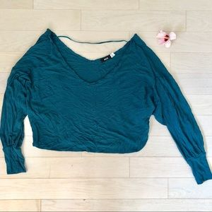 BDG Off the shoulder teal cropped shirt
